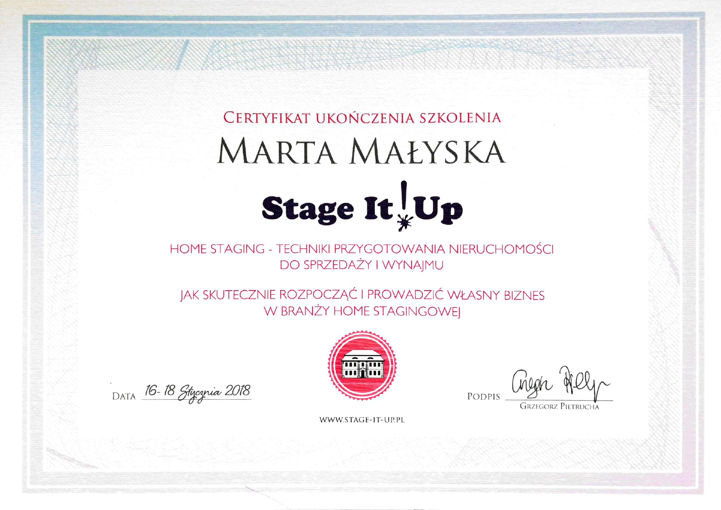 Certyfikat Stage it up! Home staging