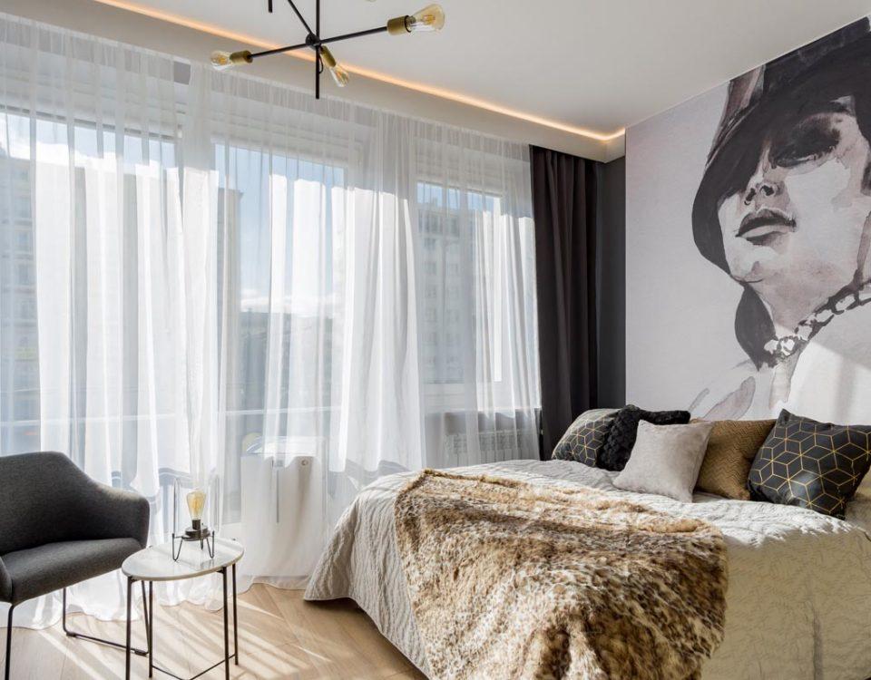 Projekt wnętrz - kawalerka airbnb