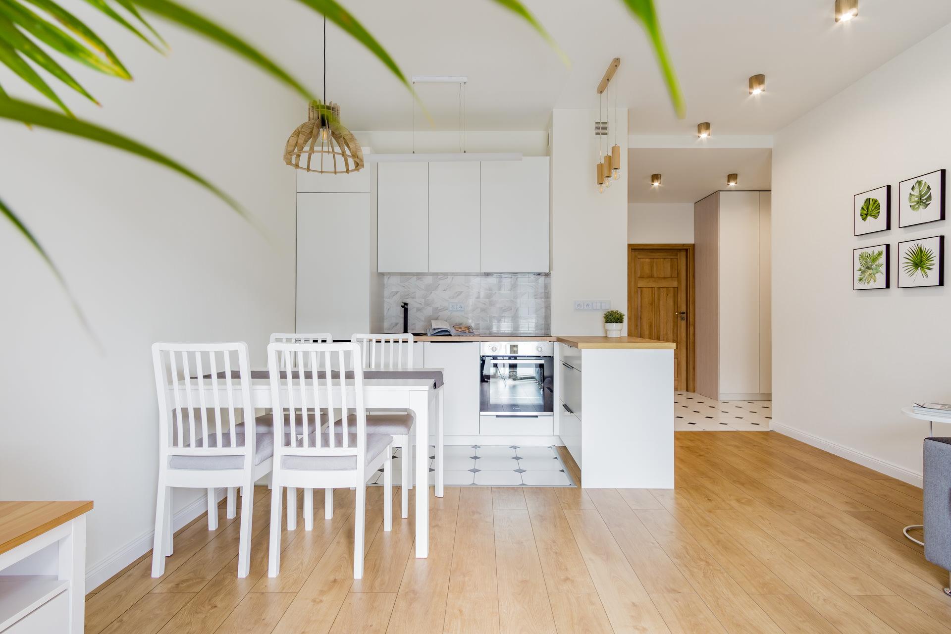 Projekt wnętrz salon z aneksem kuchennym