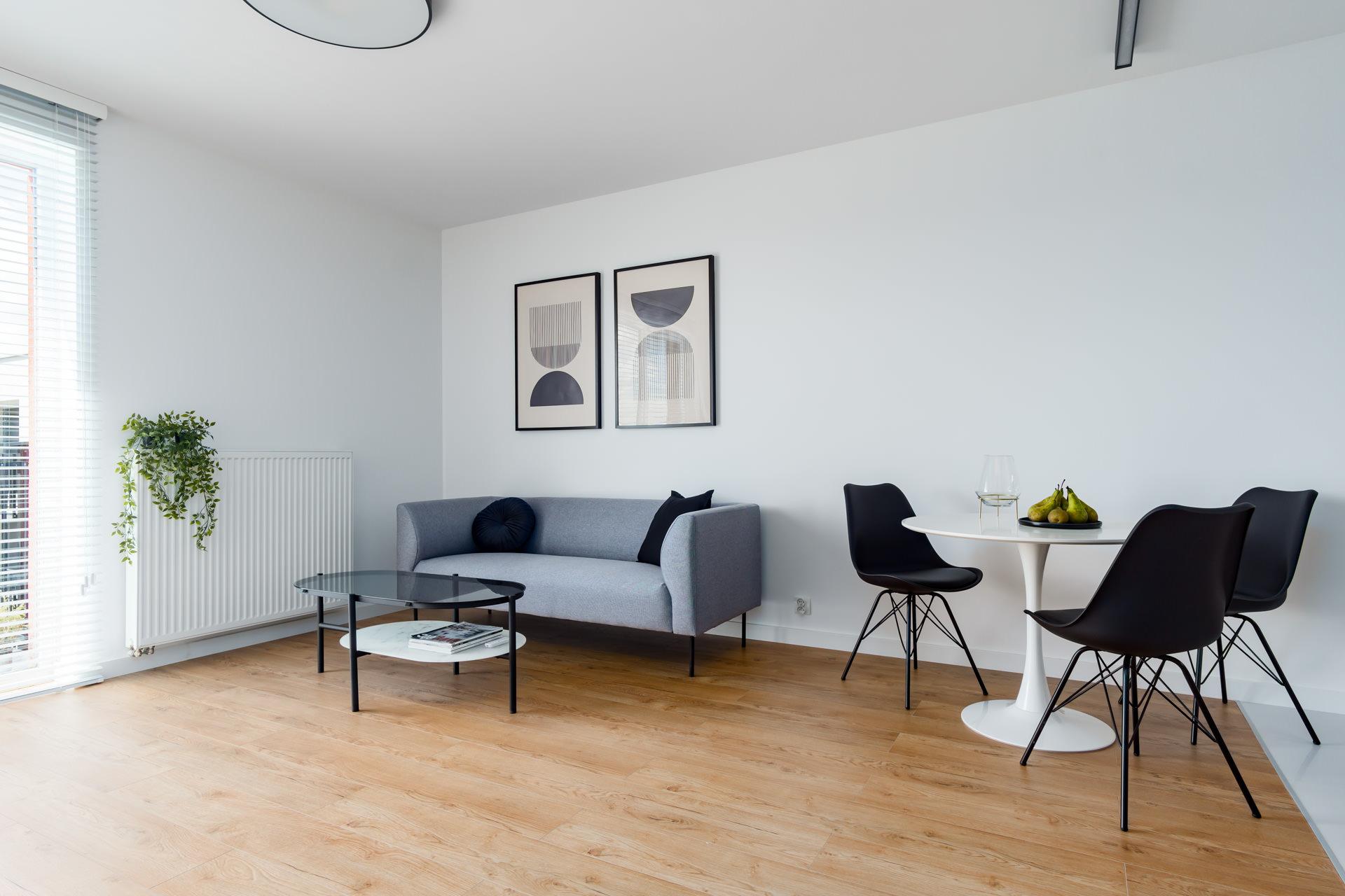 Projekt wnętrz nowoczesnego apartamentu salon