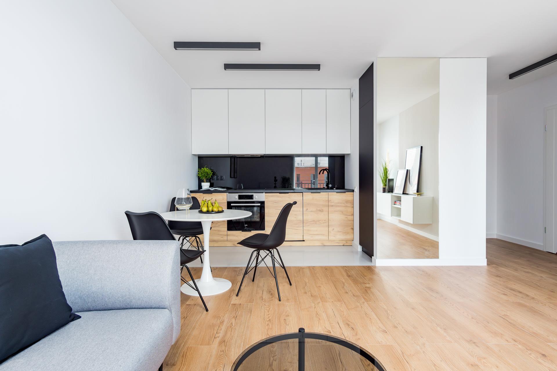 Projekt wnętrz nowoczesnego apartamentu salon z aneksem