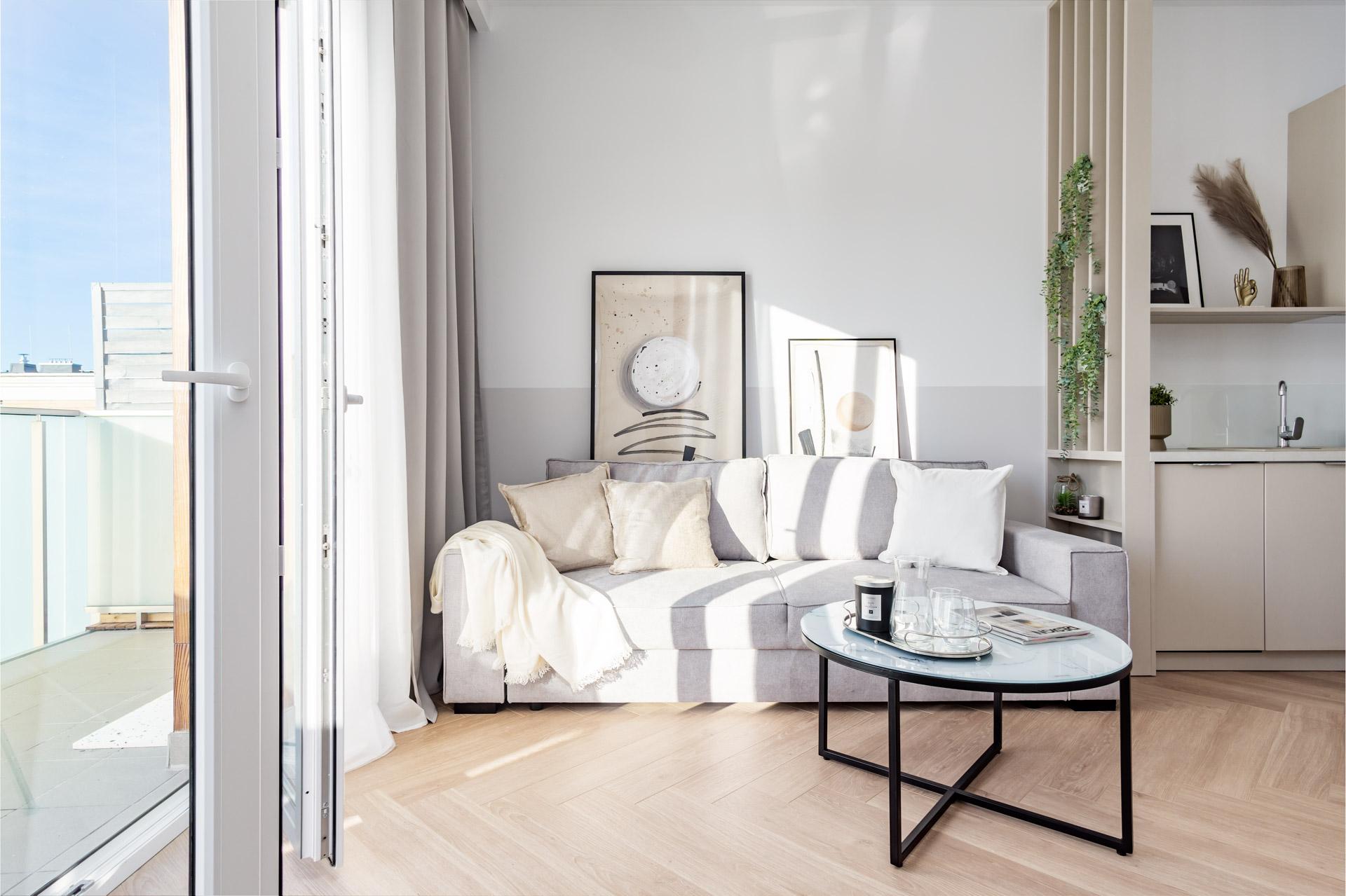 Salon w zaprojektowanym mieszkaniu