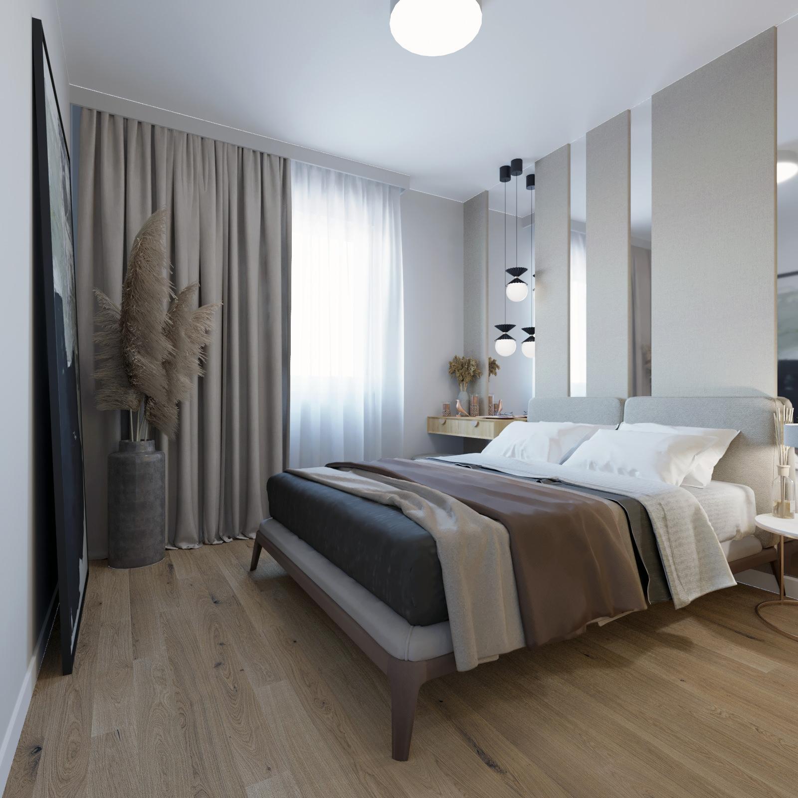 POLESKIE sypialnia wizualizacja projektu wnętrz