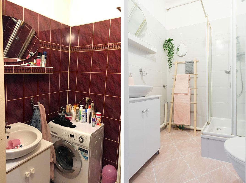 łazienka przed i po home staging