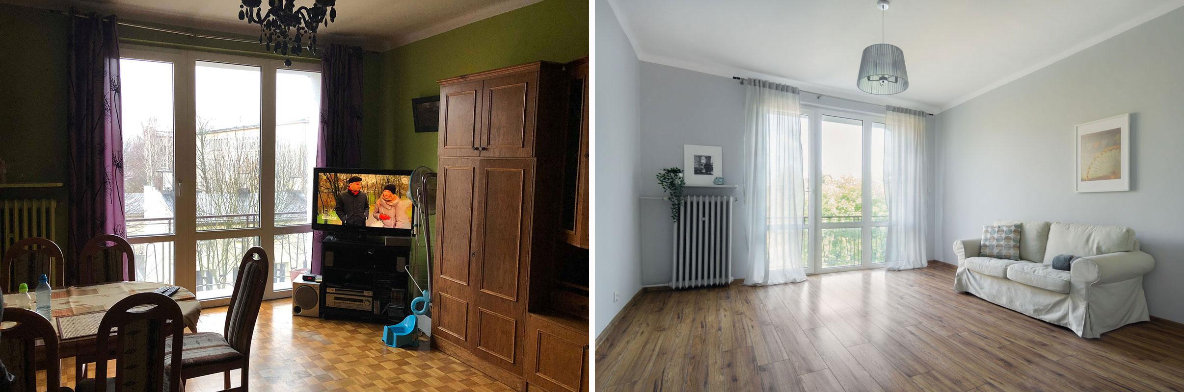 salon przed i po home staging
