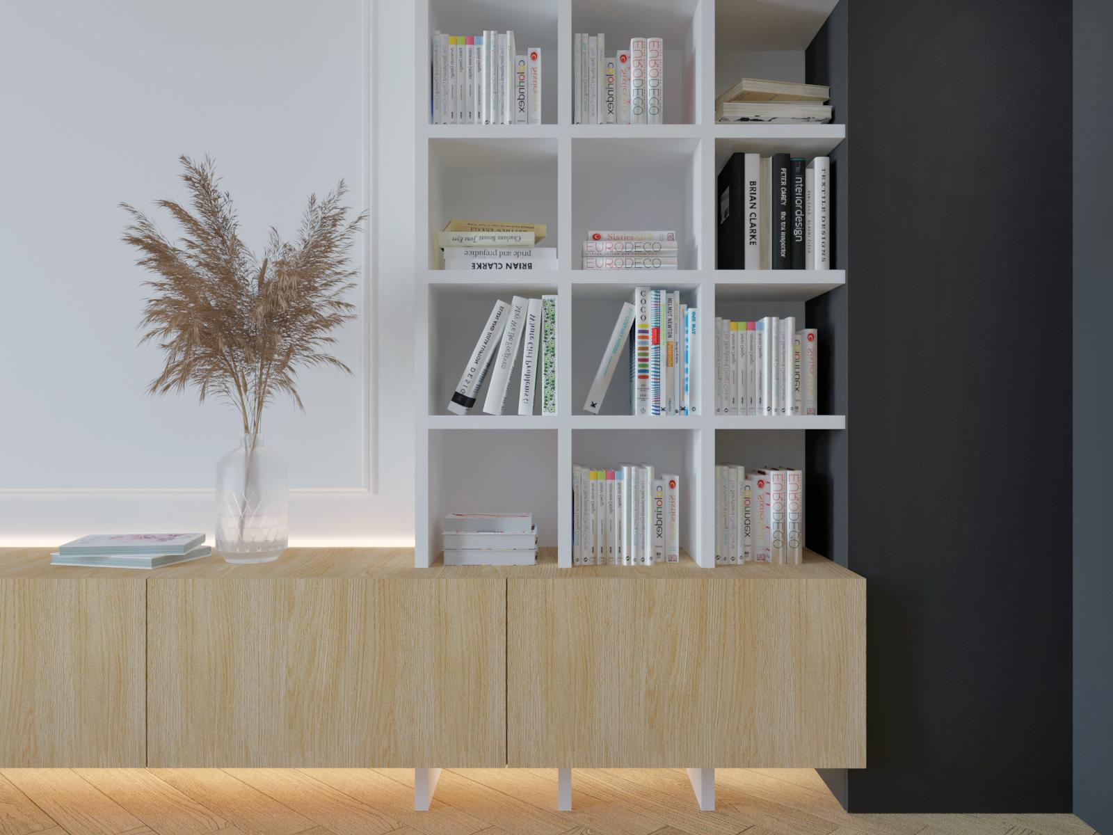wizualizacja półki na ksiązki