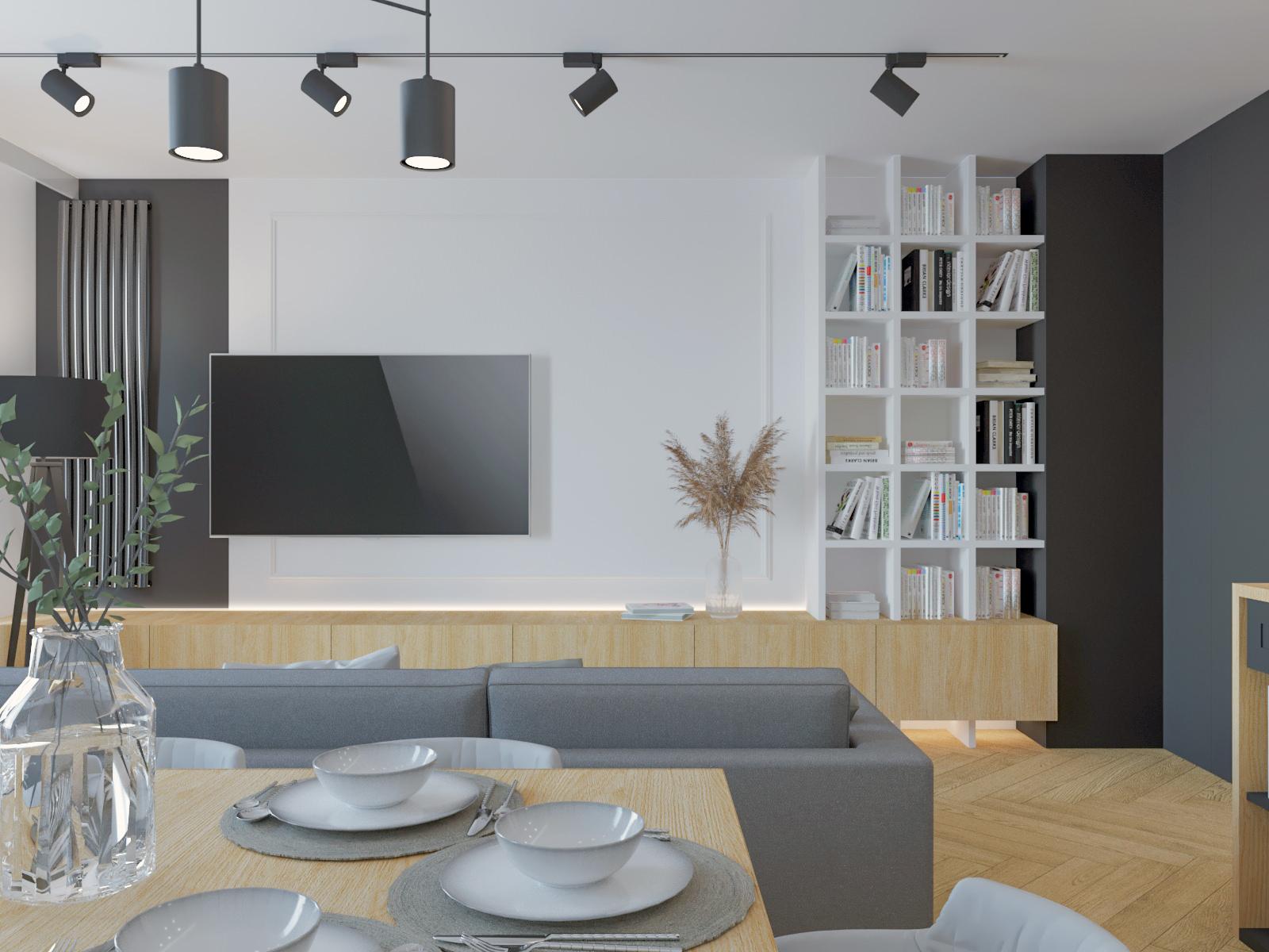 salon nowoczesny mieszkanie 3 pokoje